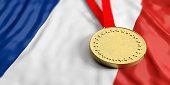 Gold medal on waving France flag. Horizontal, full frame, closeup view. 3d illustration
