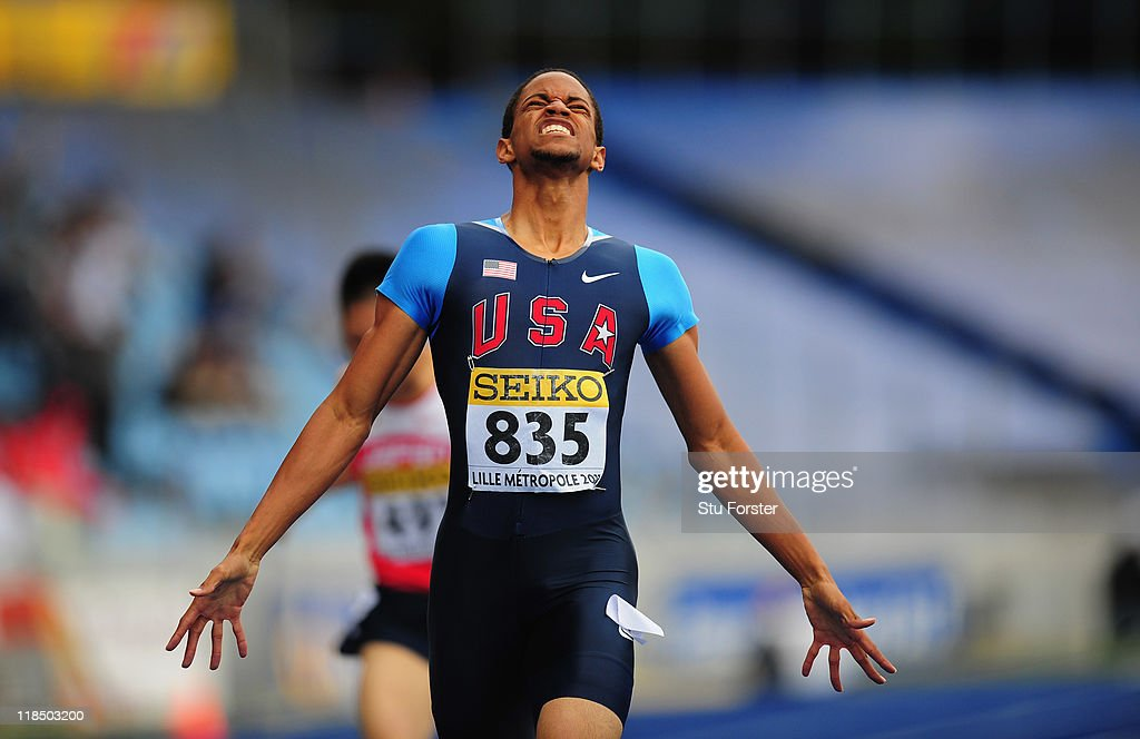 Gold medal winner Arman Hall of USA celebrates after winning the Boys 400 metres race during day three of the IAAF World Youth Championships at Lille Metropole stadium on July 8, 2011 in Lille, France.
