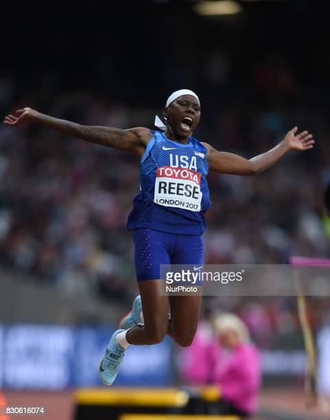 Gold medal winner Brittney Reese of USA jumps in the long jump final in London at the 2017 IAAF World Championships athletics at the London Stadium...