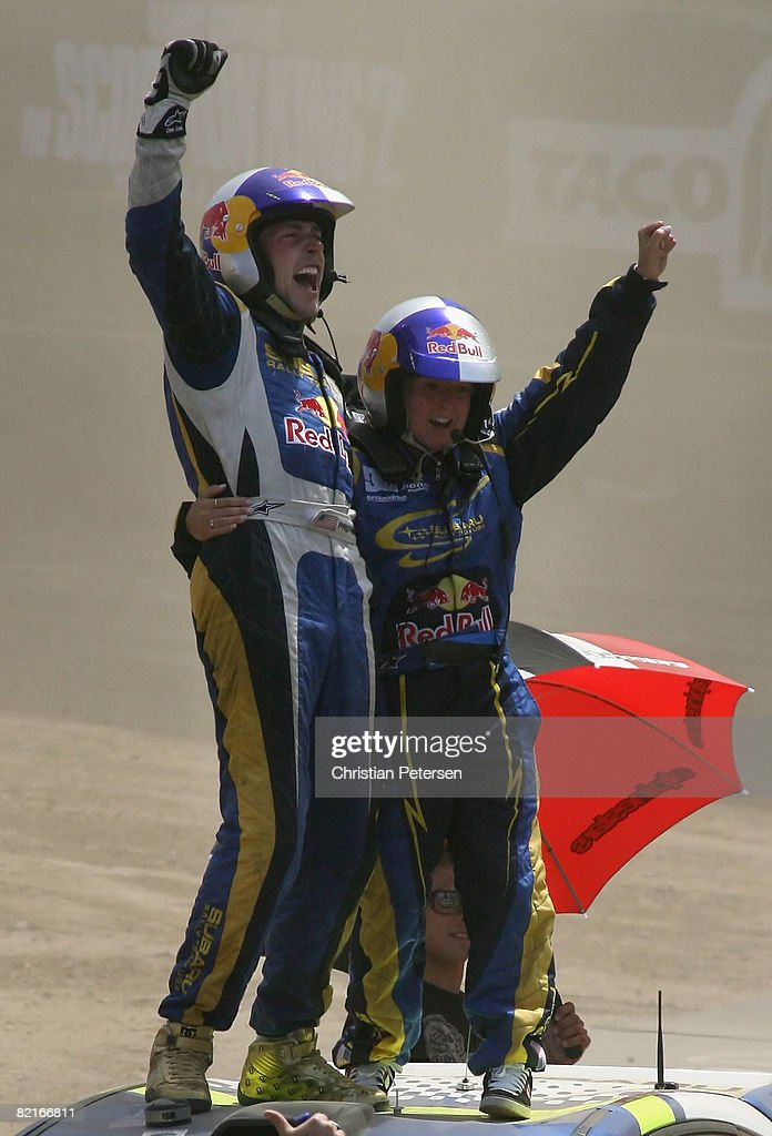 Gold medal winner drivers Travis Pastrana and Carolyn Bosley celebrate after winning the Rally Car race during the summer X Games 14 at Home Depot Center on August 3, 2008 in Carson, California.