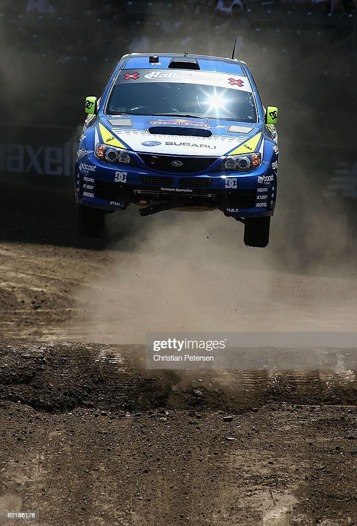 Gold medal winner drivers Travis Pastrana and Carolyn Bosley compete in the Rally Car race final during the summer X Games 14 at Home Depot Center on August 3, 2008 in Carson, California.