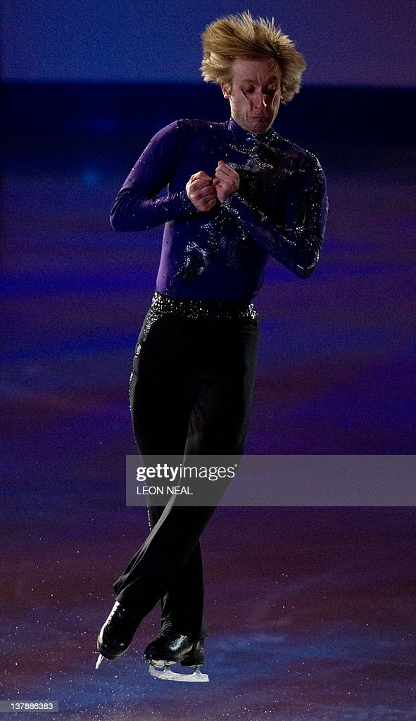 Gold medal winner in the Men's category Evgeni Plushenko of Russia performs in the Gala event on the final day of the ISU European Figure Skating Championships at the Motorpoint Arena in Sheffield, north England, on January 29, 2012.
