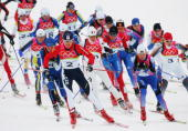 Gold Medal winner Katerina Neumannova of the Czech Republic competes in the Womens Cross Country Skiing 30km Mass Start Final on Day 14 of the 2006...