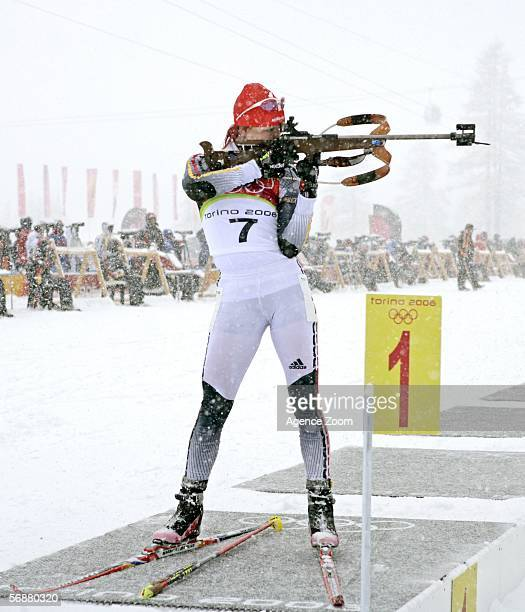 Gold Medal winner Kati Wilhelm of Germany on her way to winning the Womens Biathlon 10km Pursuit Final on Day 8 of the 2006 Turin Winter Olympic...