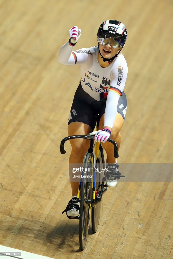 Gold medal winner Kristina Vogel of Germany celebrates after the Women's Sprint Final on day two of the UCI Track Cycling World Cup at Manchester Velodrome on November 2, 2013 in Manchester, England.