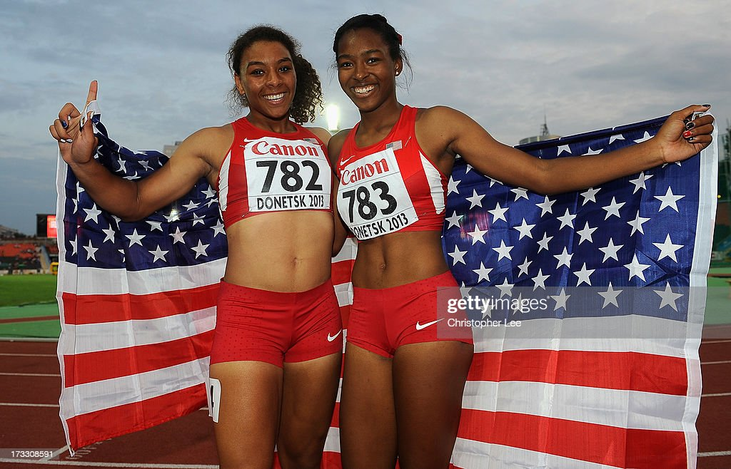 Gold medal winner, Ky Westbrook (L) and Silver Medal winner, Ariana Washington of USA celebrate after the Girls 100m Final during Day 2 of the IAAF World Youth Championships at the RSC Olimpiyskiy Stadium on July 11, 2013 in Donetsk, Ukraine.