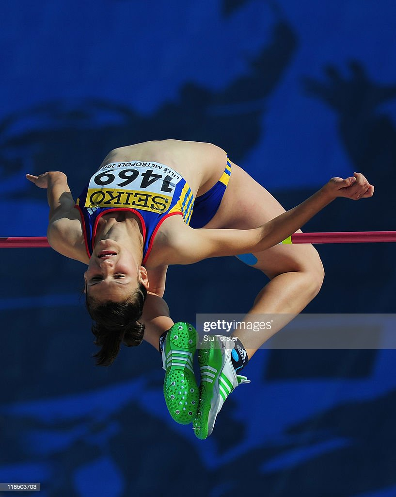 Gold medal winner Ligia Grozav of Romania in action on her way to winning the Girls high jump final during day three of the IAAF World Youth Championships at Lille Metropole stadium on July 8, 2011 in Lille, France.
