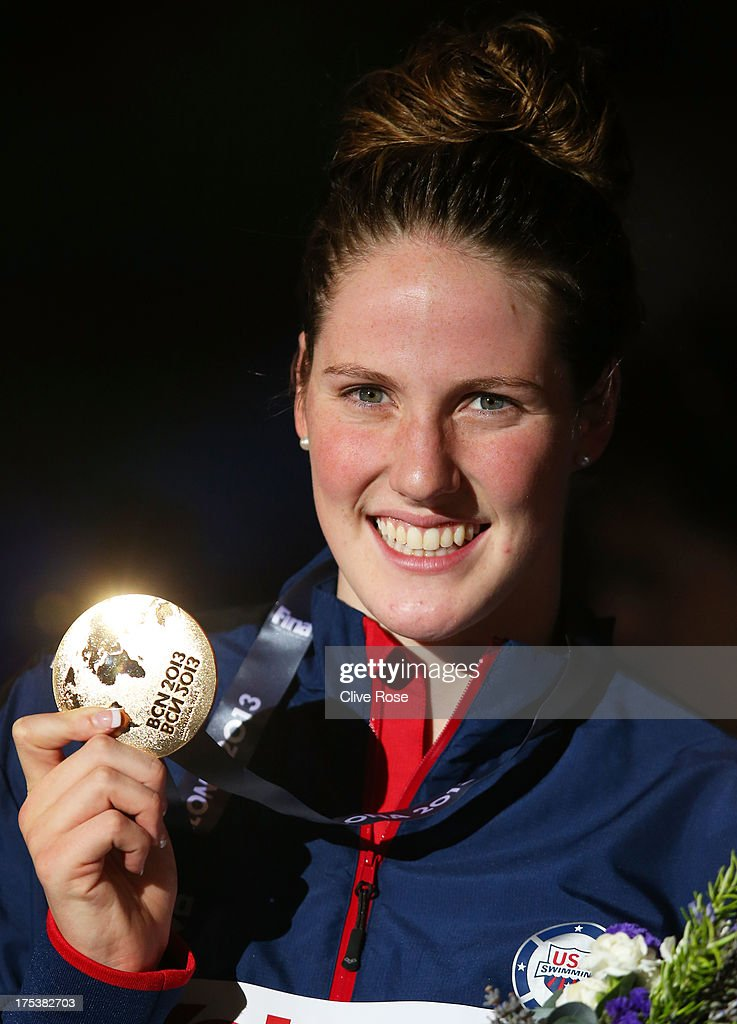 Gold medal winner <a gi-track='captionPersonalityLinkClicked' href=/galleries/search?phrase=Missy+Franklin+-+Swimmer&family=editorial&specificpeople=6623958 ng-click='$event.stopPropagation()'>Missy Franklin</a> of the USA celebrates on the podium after the Swimming Women's Backstroke 200m Final on day fifteen of the 15th FINA World Championships at Palau Sant Jordi on August 3, 2013 in Barcelona, Spain.