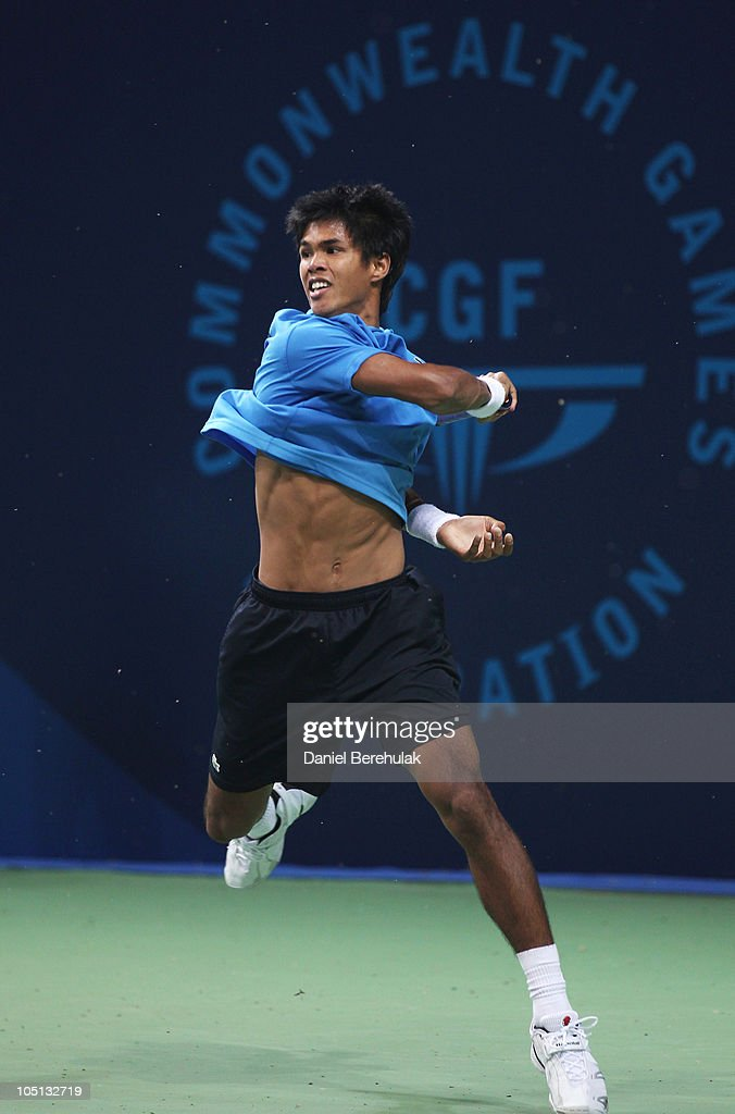 Gold medal winner <a gi-track='captionPersonalityLinkClicked' href=/galleries/search?phrase=Somdev+Devvarman&family=editorial&specificpeople=5487712 ng-click='$event.stopPropagation()'>Somdev Devvarman</a> of India plays a forehand against Greg Jones of Australia during the men's singles final at RK Khanna Tennis Stadium during day seven of the Delhi 2010 Commonwealth Games on October 10, 2010 in Delhi, India.