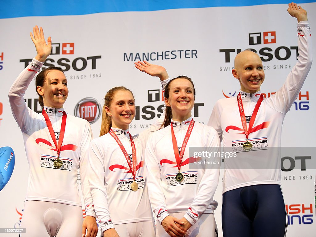 Gold medal winners <a gi-track='captionPersonalityLinkClicked' href=/galleries/search?phrase=Dani+King+-+Cyclist&family=editorial&specificpeople=7505449 ng-click='$event.stopPropagation()'>Dani King</a>, <a gi-track='captionPersonalityLinkClicked' href=/galleries/search?phrase=Laura+Trott+-+Cyclist&family=editorial&specificpeople=7205074 ng-click='$event.stopPropagation()'>Laura Trott</a>, Elinor Barker and <a gi-track='captionPersonalityLinkClicked' href=/galleries/search?phrase=Joanna+Rowsell&family=editorial&specificpeople=5054365 ng-click='$event.stopPropagation()'>Joanna Rowsell</a> of Great Britain celebrate on the podium after the Women's Team Pursuit Finals on day one of the UCI Track Cycling World Cup at Manchester Velodrome on November 1, 2013 in Manchester, England.