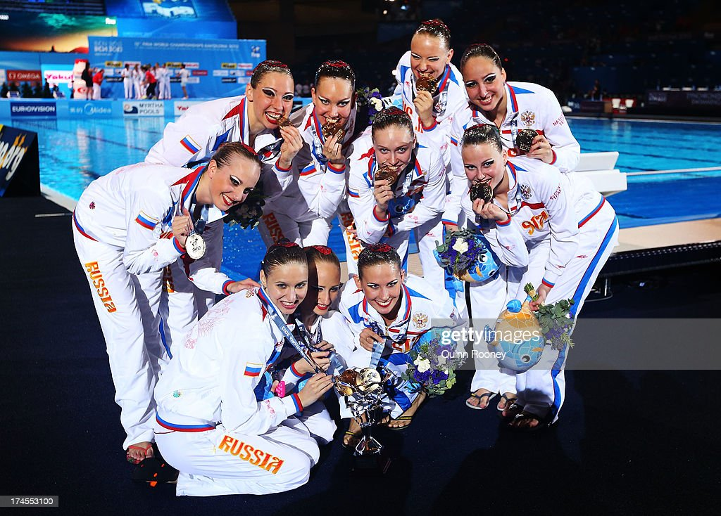 Gold medal winners Russia celebrate after winning the Synchronized Swimming Free Combination Final on day eight of the 15th FINA World Championships...
