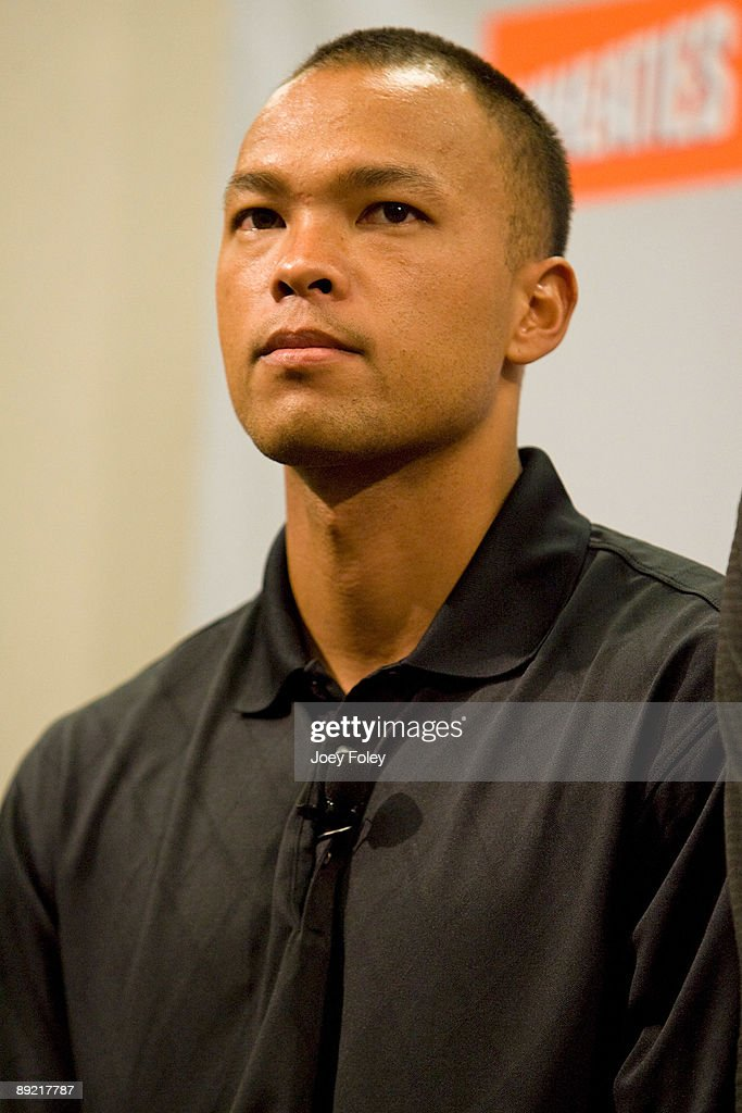 Gold medal winning decathlete Bryan Clay attends a press conference to discuss a new Wheaties cereal at Conseco Fieldhouse on July 23, 2009 in Indianapolis, Indiana.