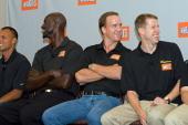 Gold medal winning decathlete Bryan Clay NBA star Kevin Garnett Indianapolis Colts quarterback Peyton Manning and triathlete Hunter Kemper laugh as...