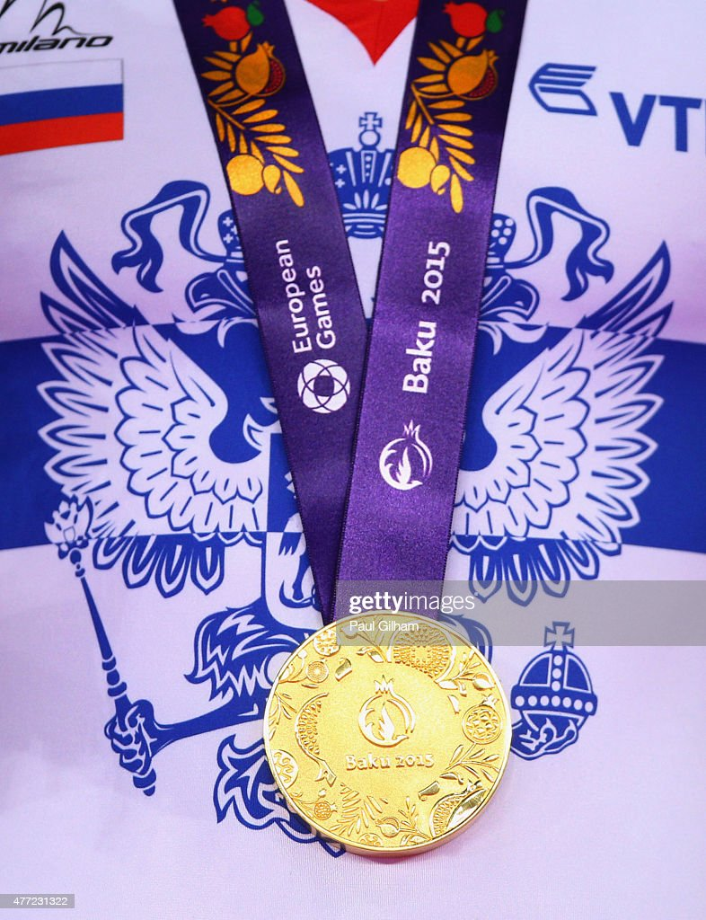 A gold medal won by Russia during the medal ceremony for the Men's Team Final on day three of the Baku 2015 European Games at the National Gymnastics...