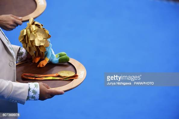 Gold medali of the Rio 2016 Paralympic Games at Olympic Aquatics Stadium on September 17 2016 in Rio de Janeiro Brazil