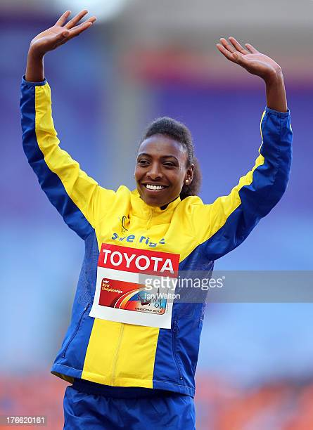 Gold medalist Abeba Aregawi of Sweden poses on the podium during the medal ceremony for the Women's 1500 metres during Day Seven of the 14th IAAF...