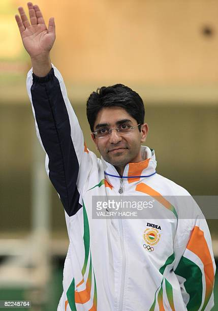 Gold medalist Abhinav Bindra of India celebrates after winning the gold medal at the Men's 10m Air Rifle shooting title at the 2008 Beijing Olympics...