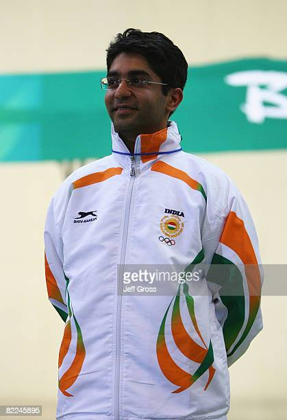 Gold medalist Abhinav Bindra of India looks on after the Men's 10m Air Rifle Final at the Beijing Shooting Range Hall on day 3 of the Beijing 2008...