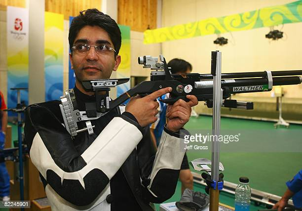 Gold medalist Abhinav Bindra of India poses after the Men's 10m Air Rifle Final at the Beijing Shooting Range Hall on day 3 of the Beijing 2008...