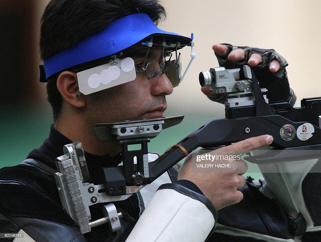Gold medalist Abhinav Bindra of India takes part in the Men's 10m Air Rifle shooting title at the 2008 Beijing Olympics on August 11 2008 Bindra won...