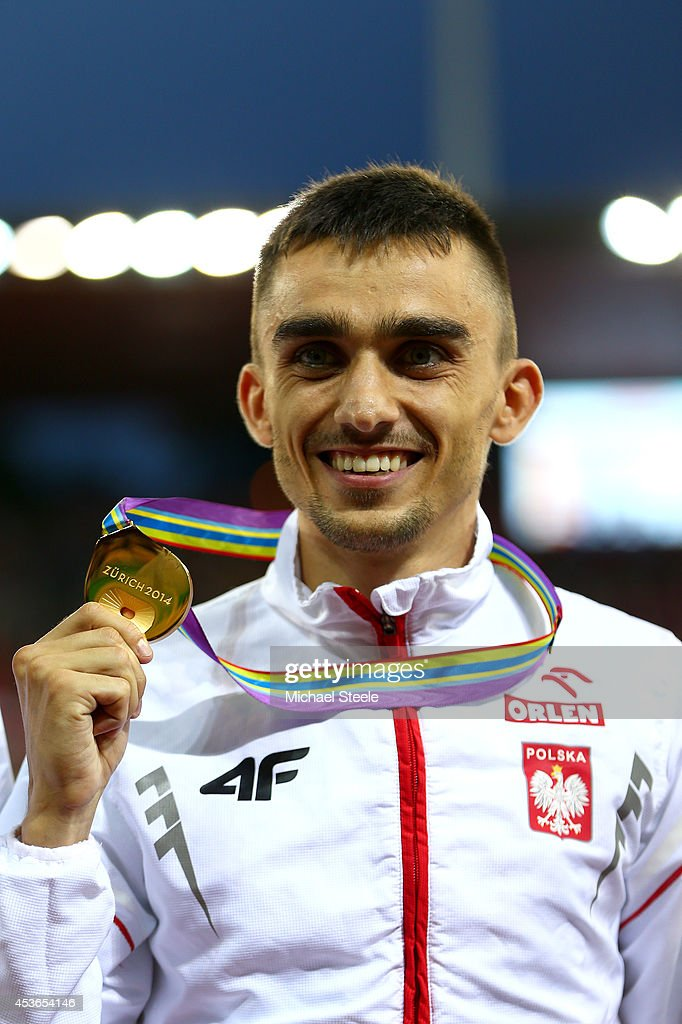 Gold medalist <a gi-track='captionPersonalityLinkClicked' href=/galleries/search?phrase=Adam+Kszczot&family=editorial&specificpeople=5746296 ng-click='$event.stopPropagation()'>Adam Kszczot</a> of Poland poses with his medal during the medal ceremony for the Men's 800 metres final during day four of the 22nd European Athletics Championships at Stadium Letzigrund on August 15, 2014 in Zurich, Switzerland.