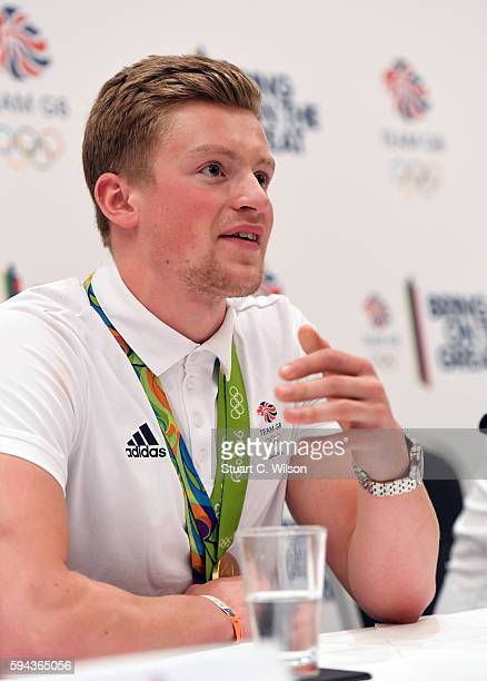 Gold medalist Adam Peaty speaks to journalists during the Team GB press conference at the Sofitel Heathrow Airport on August 23 2016 in London...