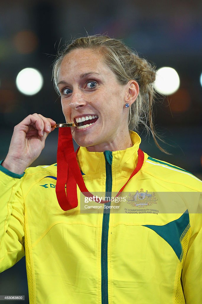 Gold medalist <a gi-track='captionPersonalityLinkClicked' href=/galleries/search?phrase=Alana+Boyd&family=editorial&specificpeople=4094944 ng-click='$event.stopPropagation()'>Alana Boyd</a> of Australia on the podium during the medal ceremony for the Women's Pole Vault at Hampden Park during day ten of the Glasgow 2014 Commonwealth Games on August 2, 2014 in Glasgow, United Kingdom.