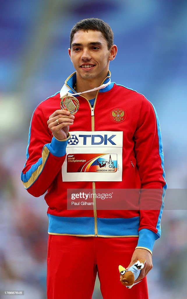 Gold medalist <a gi-track='captionPersonalityLinkClicked' href=/galleries/search?phrase=Aleksandr+Menkov&family=editorial&specificpeople=7881540 ng-click='$event.stopPropagation()'>Aleksandr Menkov</a> of Russia e on the podium for the Men's Long Jump during Day Eight of the 14th IAAF World Athletics Championships Moscow 2013 at Luzhniki Stadium on August 17, 2013 in Moscow, Russia.