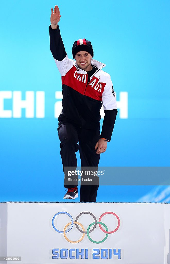 Gold medalist Alex Bilodeau of Canada celebrates during the medal ceremony for the Freestyle Skiing Men's Moguls on day 4 of the Sochi 2014 Winter...