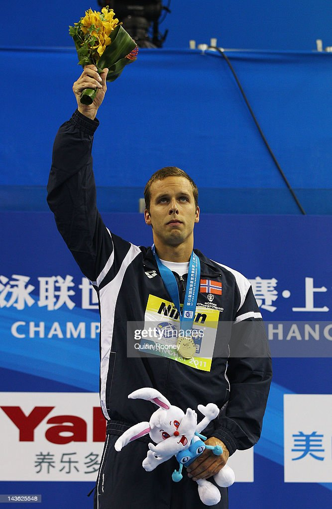 Gold medalist <a gi-track='captionPersonalityLinkClicked' href=/galleries/search?phrase=Alexander+Dale+Oen&family=editorial&specificpeople=2090176 ng-click='$event.stopPropagation()'>Alexander Dale Oen</a> of Norway celebrates on the podium during the medal ceremony for the Men's 100m Breaststroke final during Day Ten of the 14th FINA World Championships at the Oriental Sports Center on July 25, 2011 in Shanghai, China. World Champion and Olympic silver medallist Norwegian swimmer <a gi-track='captionPersonalityLinkClicked' href=/galleries/search?phrase=Alexander+Dale+Oen&family=editorial&specificpeople=2090176 ng-click='$event.stopPropagation()'>Alexander Dale Oen</a> has died, aged 26, after suffering a cardiac arrest while training in Flagstaff, Arizona.