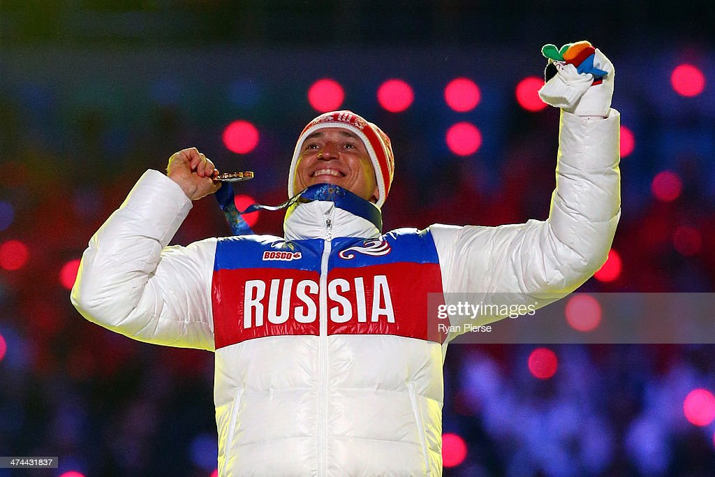 Gold medalist Alexander Legkov of Russia celebrates in the medal ceremony for the Men's 50 km Mass Start Free during the 2014 Sochi Winter Olympics Closing Ceremony at Fisht Olympic Stadium on February 23, 2014 in Sochi, Russia.