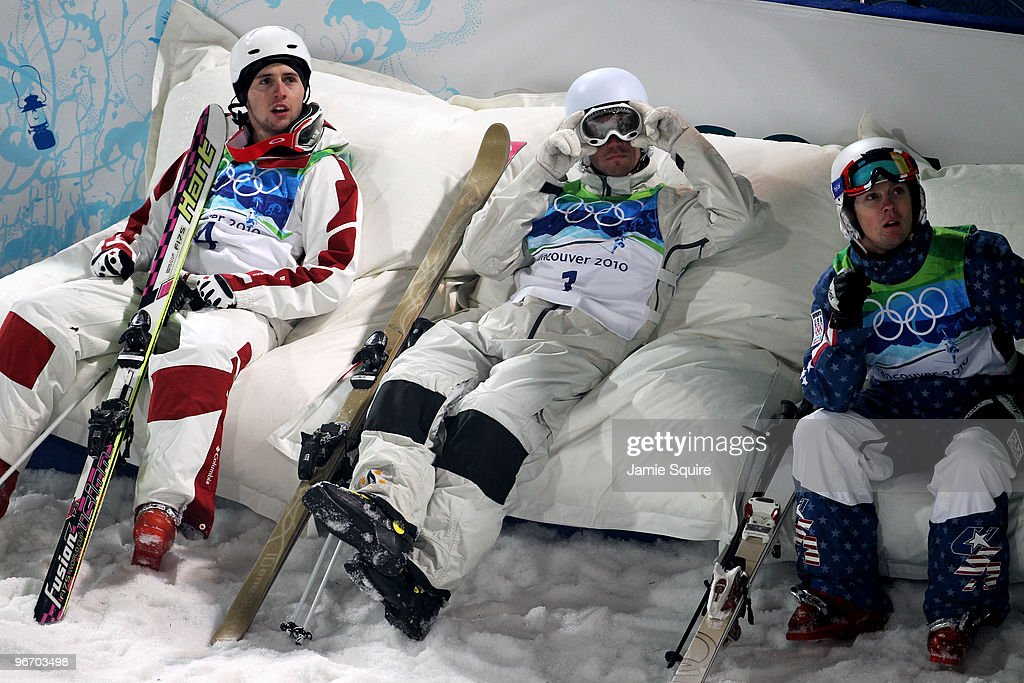 Gold medalist <a gi-track='captionPersonalityLinkClicked' href=/galleries/search?phrase=Alexandre+Bilodeau&family=editorial&specificpeople=814666 ng-click='$event.stopPropagation()'>Alexandre Bilodeau</a> of Canada sits with <a gi-track='captionPersonalityLinkClicked' href=/galleries/search?phrase=Dale+Begg-Smith&family=editorial&specificpeople=725004 ng-click='$event.stopPropagation()'>Dale Begg-Smith</a> of Australia (silver) and <a gi-track='captionPersonalityLinkClicked' href=/galleries/search?phrase=Bryon+Wilson&family=editorial&specificpeople=4824254 ng-click='$event.stopPropagation()'>Bryon Wilson</a> of United States (bronze) during the Freestyle Skiing Men's Moguls on day 3 of the 2010 Winter Olympics at Cypress Freestyle Skiing Stadium on February 14, 2010 in Vancouver, Canada. <a gi-track='captionPersonalityLinkClicked' href=/galleries/search?phrase=Alexandre+Bilodeau&family=editorial&specificpeople=814666 ng-click='$event.stopPropagation()'>Alexandre Bilodeau</a> of Canada becomes the first Canadian to win a gold medal on home soil at the Winter Olympic Games.