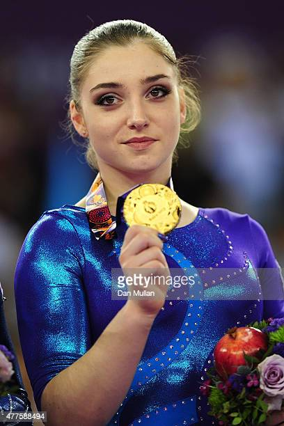 Gold medalist Aliya Mustafina of Russia poses with the medal won in the Women's Individual AllAround final on day six of the Baku 2015 European Games...