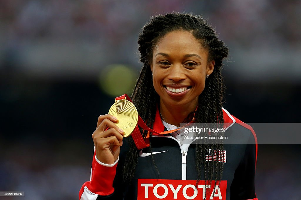 Gold medalist <a gi-track='captionPersonalityLinkClicked' href=/galleries/search?phrase=Allyson+Felix&family=editorial&specificpeople=213459 ng-click='$event.stopPropagation()'>Allyson Felix</a> of the United States poses on the podium during the medal ceremony for the Women's 400 metres final during day seven of the 15th IAAF World Athletics Championships Beijing 2015 at Beijing National Stadium on August 28, 2015 in Beijing, China.