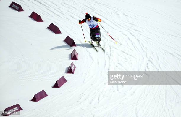 Gold medalist Andrea Eskau of Germany competes in the Women's Cross Country 5km Sitting on day nine of the Sochi 2014 Paralympic Winter Games at...