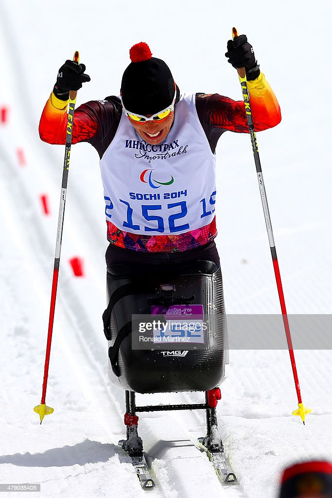 Gold medalist Andrea Eskau of Germany drives towards the finish line in the Women's Cross Country 5km Sitting on day nine of the Sochi 2014...