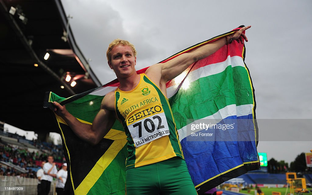 Gold medalist Andries Van Der Merwe of South Africa celebrates after winning the Boys 110 metres hurdles final during during day two of the IAAF World Youth Championships at Lille Metropole stadium on July 7, 2011 in Lille, France.