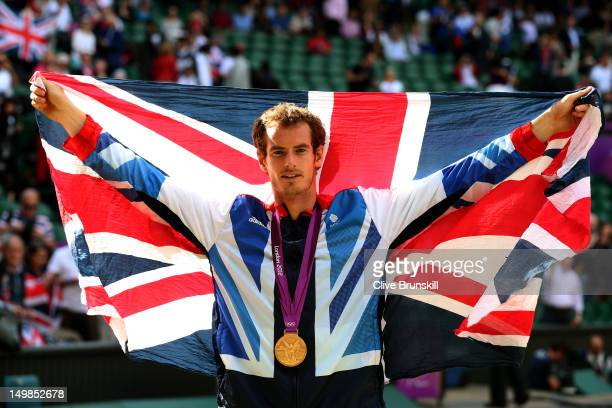 Gold medalist Andy Murray of Great Britain celebrates during the medal ceremony for the Men's Singles Tennis match on Day 9 of the London 2012...