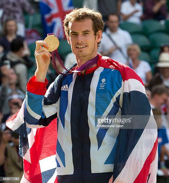 Gold medalist Andy Murray of Great Britain poses after the medal ceremony for the Men's Singles Tennis match on Day 9 of the London 2012 Olympic...