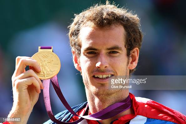 Gold medalist Andy Murray of Great Britain poses during the medal ceremony for the Men's Singles Tennis match on Day 9 of the London 2012 Olympic...