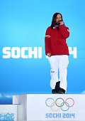 Gold medalist Anna Fenninger of Austria celebrates on the podium during the medal ceremony for the Alpine Skiing Ladies' SuperG on day 8 of the Sochi...