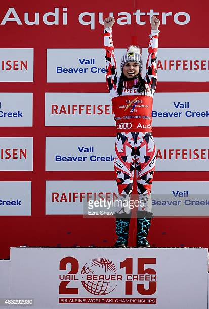 Gold medalist Anna Fenninger of Austria stands on the podium after winning the Ladies' Giant Slalom in Red Tail Stadium on Day 11 of the 2015 FIS...