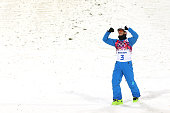 Gold medalist Anton Kushnir of Belarus celebrates after the Freestyle Skiing Men's Aerials Finals on day ten of the 2014 Winter Olympics at Rosa...