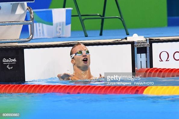 Gold medalist Arnost Petracek of Czech Republic competes in the Men's 50m Backstroke S4 Final on day 9 of the Rio 2016 Paralympic Games at Olympic...