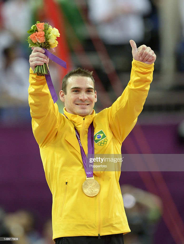 Gold medalist Arthur Nabarrete Zanetti of Brazil poses on the podium during the medal ceremony for the Artistic Gymnastics Men's Rings on Day 10 of the London 2012 Olympic Games at North Greenwich Arena on August 6, 2012 in London, England.