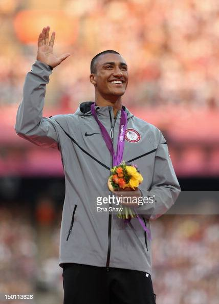Gold medalist Ashton Eaton of the United States poses on the podium during the medal ceremony for the Men's Decathlon on Day 14 of the London 2012...