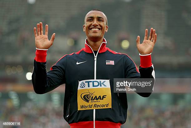 Gold medalist Ashton Eaton of the United States poses on the podium during the medal ceremony for the Men's Decathlon during day nine of the 15th...