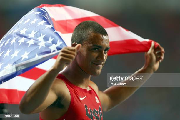 Gold medalist Ashton Eaton of United States celebrates after the Men's Decathlon 1500 metres during Day Two of the 14th IAAF World Athletics...