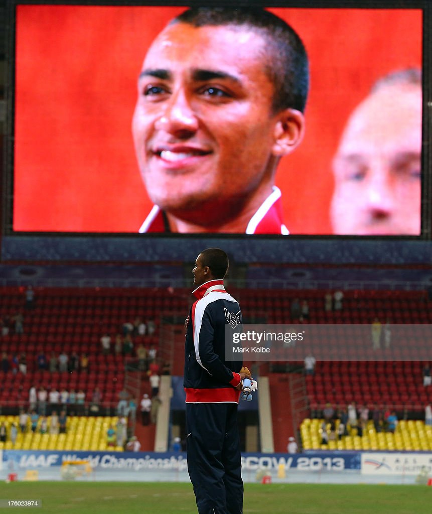 Gold medalist <a gi-track='captionPersonalityLinkClicked' href=/galleries/search?phrase=Ashton+Eaton+-+Track+and+Field+Athlete&family=editorial&specificpeople=5420683 ng-click='$event.stopPropagation()'>Ashton Eaton</a> of United States stands on the podium during the medal ceremony for the Decathlon Men during Day Two of the 14th IAAF World Athletics Championships Moscow 2013 at Luzhniki Stadium on August 11, 2013 in Moscow, Russia.