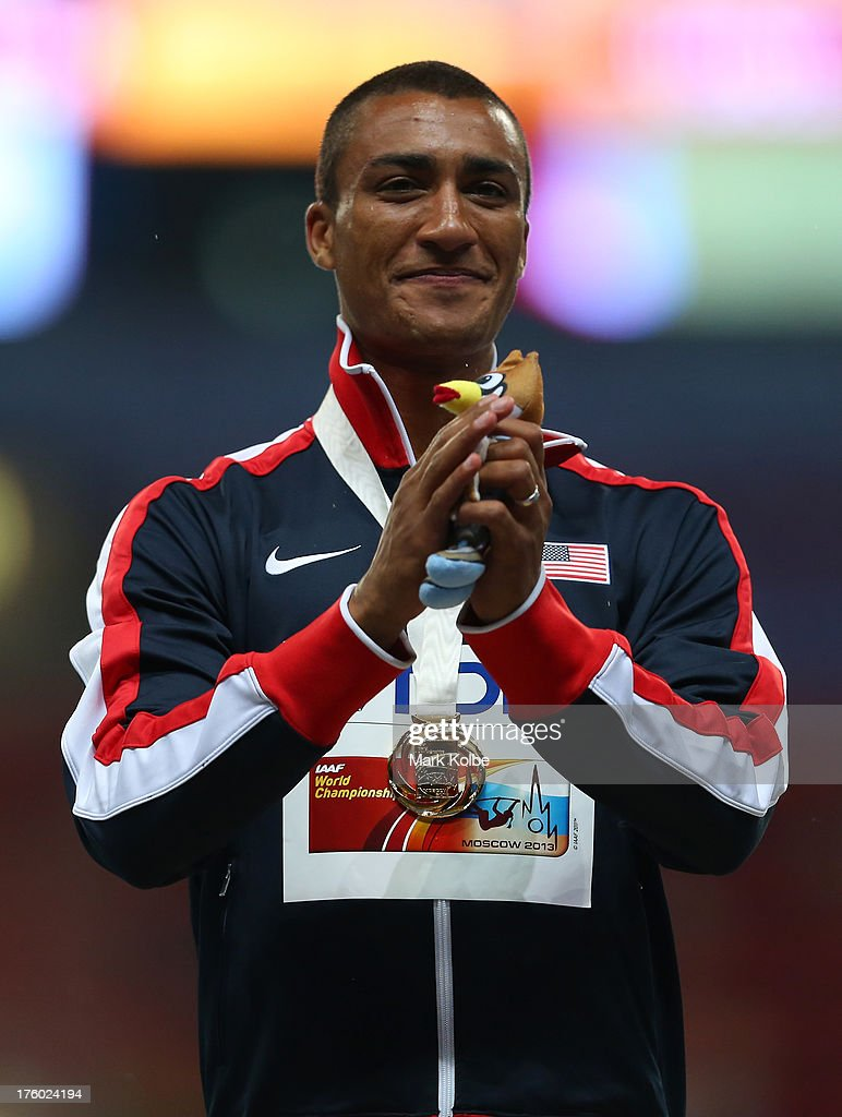 Gold medalist Ashton Eaton of United States stands on the podium during the medal ceremony for the Decathlon Menduring Day Two of the 14th IAAF World Athletics Championships Moscow 2013 at Luzhniki Stadium on August 11, 2013 in Moscow, Russia.